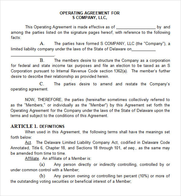 Operating Agreement Free PDF DOC Download - S corporation operating agreement template
