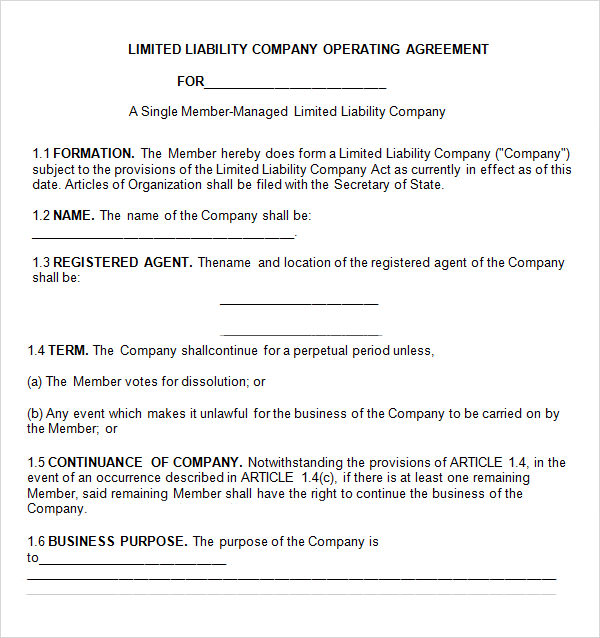 Operating agreement 7 free pdf doc download for Free operating agreement for single member llc