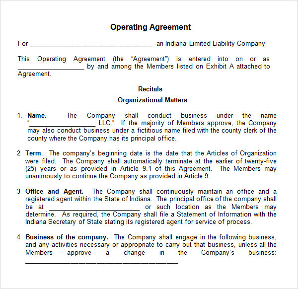 operating agreement template word