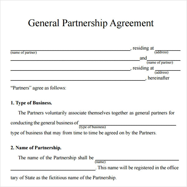 Partnership Agreement Templates Sample Templates - Free sample contracts