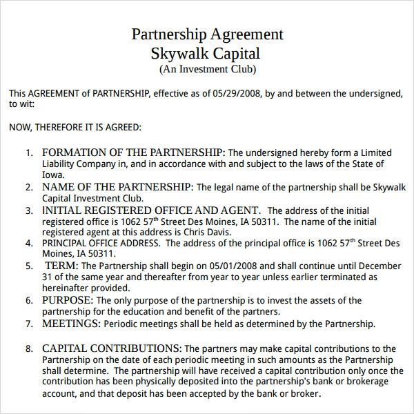 Partnership Agreement   9  Free PDF Doc Download Sample Templates S1c7iew6