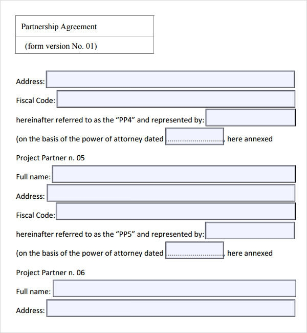 Partnership Agreement Template Free  Partnership Agreement Between Two Individuals