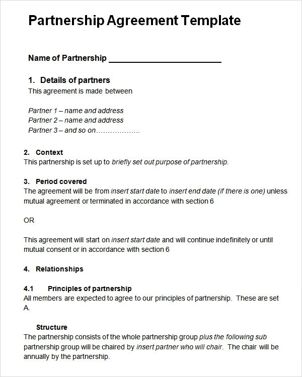 Partnership Agreement Template Word  Contract Templates For Word
