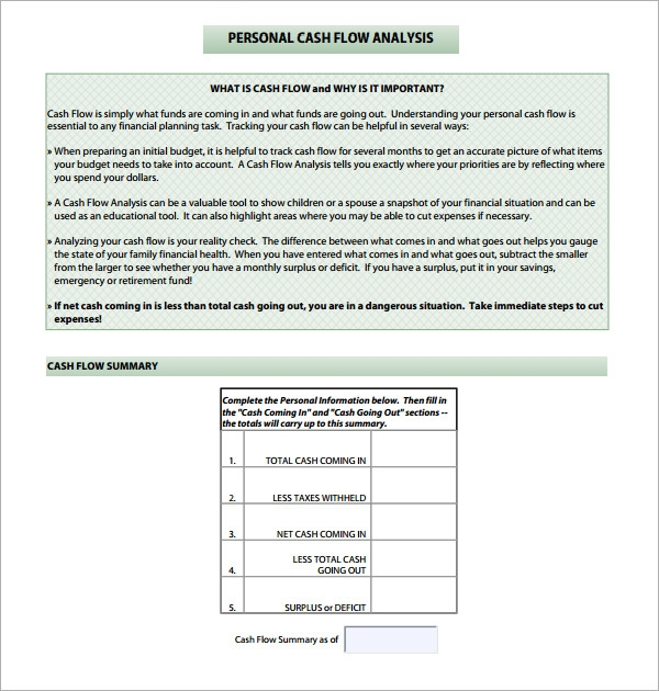 global cash flow analysis template - cash flow analysis template 11 download free documents
