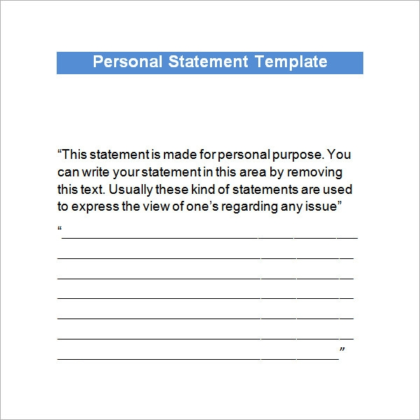 Personal Statement Sample 5 Documents in PDF Word – Personal Statement Template