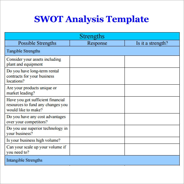 Swot Analysis Templates 14 Download Documents In Pdf Word