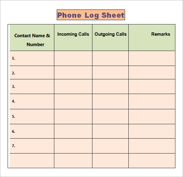 Phone Log Template   Free Pdf Doc Download