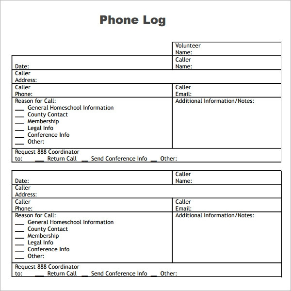 phone log template pdf