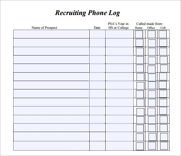phone log template printable