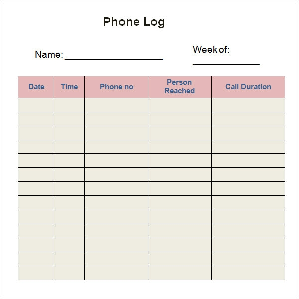8 sample printable phone log templates sample templates. Black Bedroom Furniture Sets. Home Design Ideas