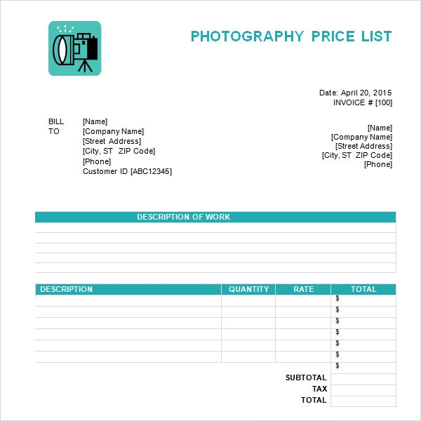 Price List Template For Photographers  Price List Template Word