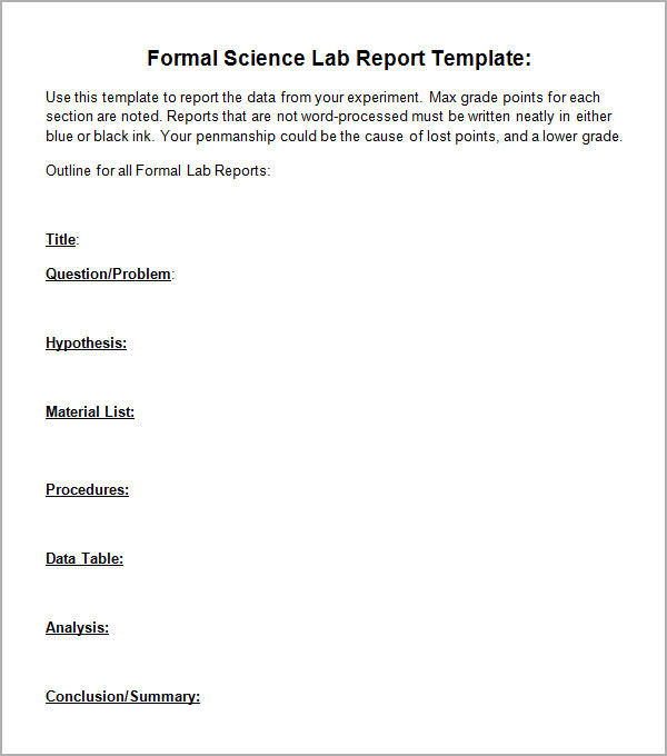 lab report cover page template