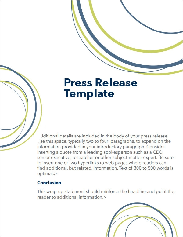 Sample Press Release Templates   Free Documents Download In Word Pdf