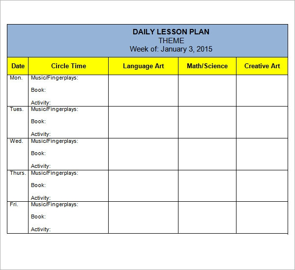 Preschool Lesson Plan Template   Download Free Documents In Pdf