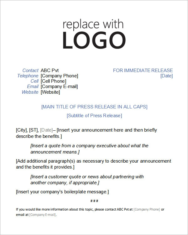 Microsoft Word Press Release Template | Example Press Release Template