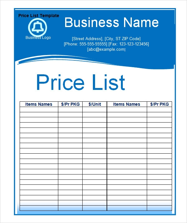 template for price list