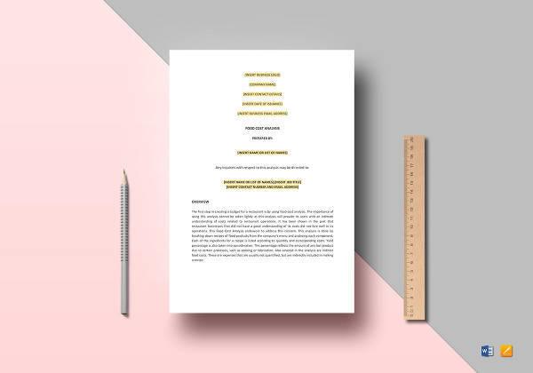printable food cost analysis template