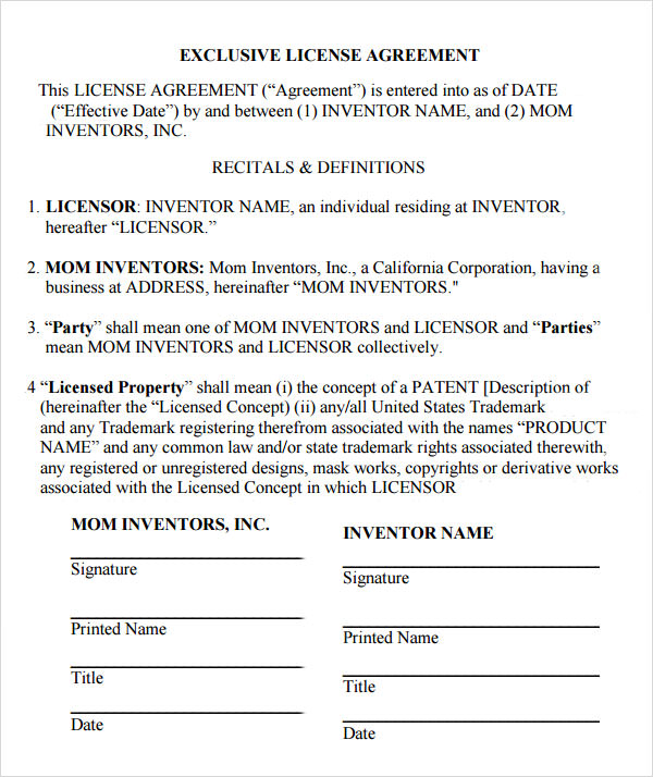 12 license agreement templates download for free sample for Exclusivity letter template