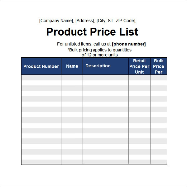6 sample price list templates sample templates for Product price list template with pictures