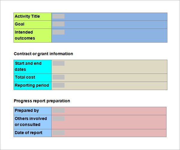 Progress Report Sample Template  Progress Sheet Template