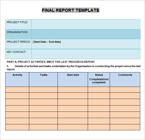 Free Template For Progress Report  TvsputnikTk