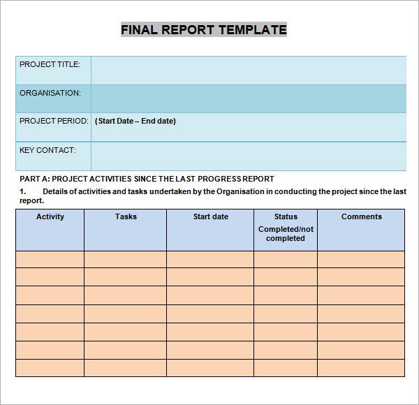 sample progress report template .