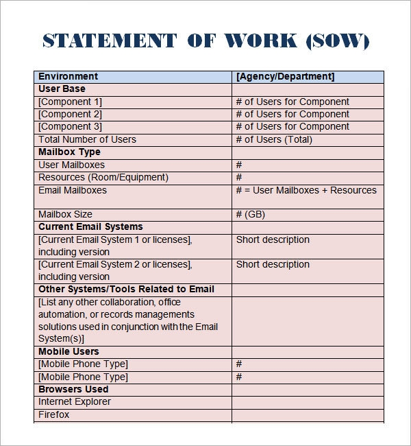 Sample Statement of Work Template - 11+ Free Documents Download in PDF