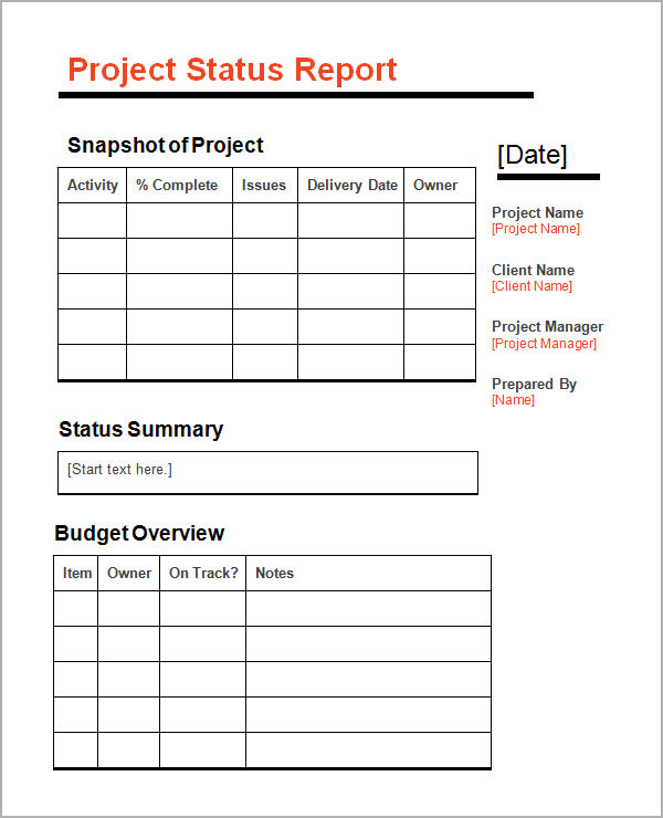11+ Sample Status Reports | Sample Templates