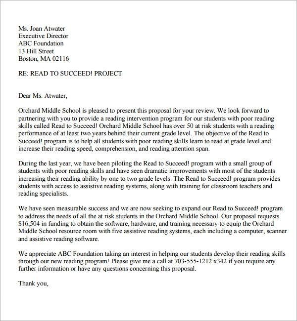 Proposal Letter Format  Proposal Letter For Project