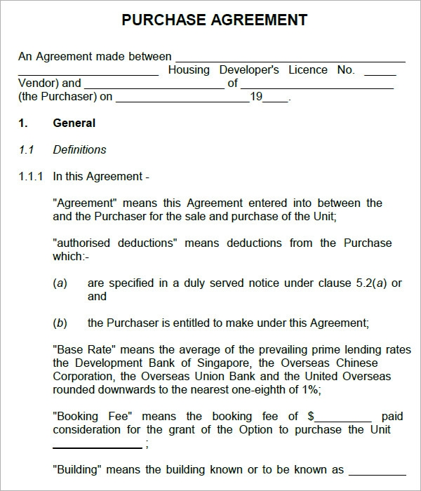 purchase agreement 9 download free documents in pdf word