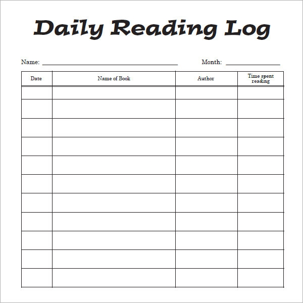 Monthly Reading Log Calendar : Reading log template cyberuse