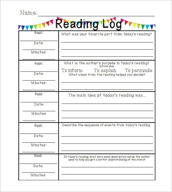 10 sample reading log templates pdf word sample for Reading log with summary template