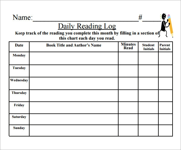Free printable reading log template with parent signature for Reading log with summary template