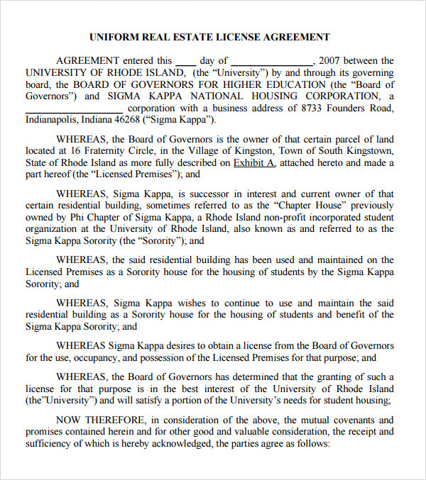 Sample license agreement template 11 free documents in pdf doc real estate license agreement template platinumwayz