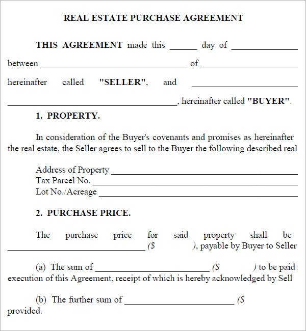 Real Estate Purchase Agreement Template – Real Estate Contract Template