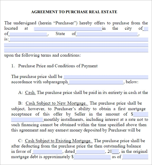 property contract agreement template – Real Estate Purchase Agreement Template