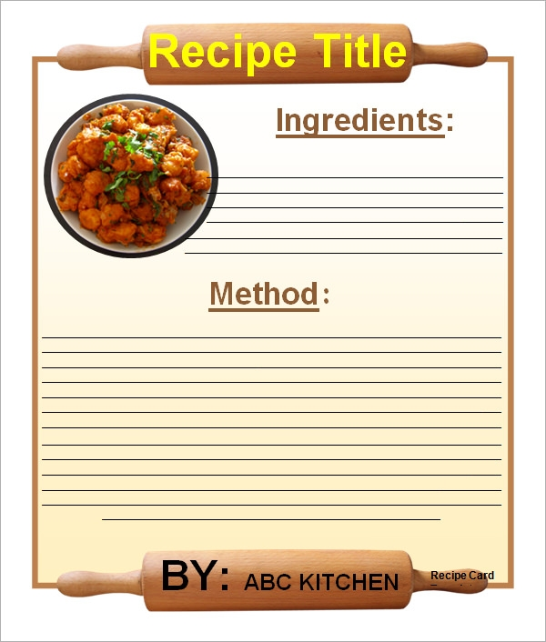 Sample Recipe Card Template 6 Free Documents Download in Word PDF – Templates for Recipe Cards