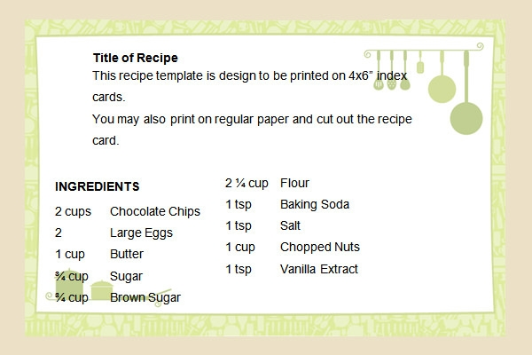 Doc578386 Recipe Page Template Word Free Printable Recipe – Word Recipe Card Template