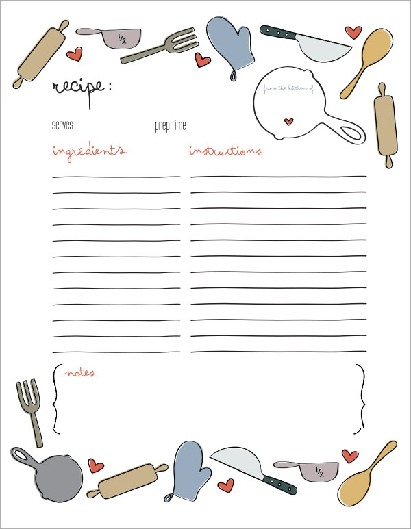 Free 6 Recipe Card Templates In Word Pdf