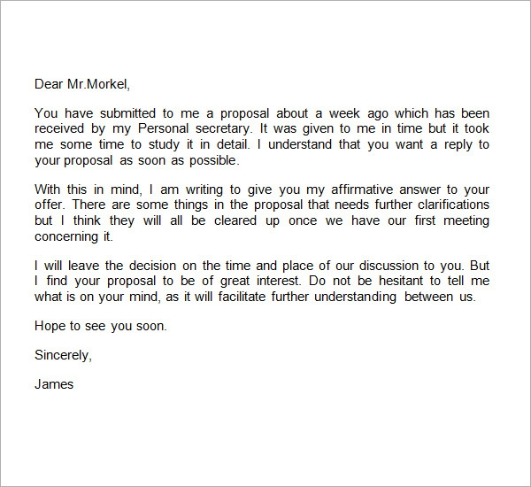 sample business proposal letter template .