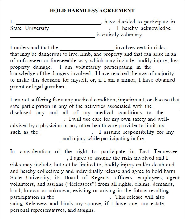 hold harmless agreement form template .