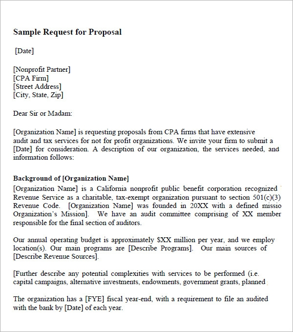 Request For Proposal Template   9  Download Free Documents In PDF U4A3nt2d