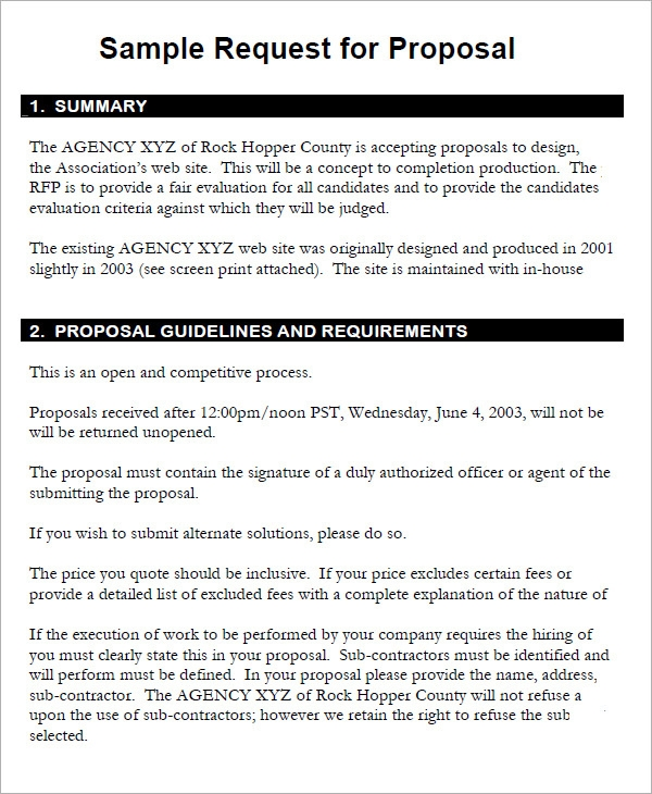 Rfp Proposal Template
