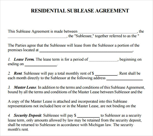 Sublease Agreement 16 Download Free Documents in PDF Word – Agreement Template Word