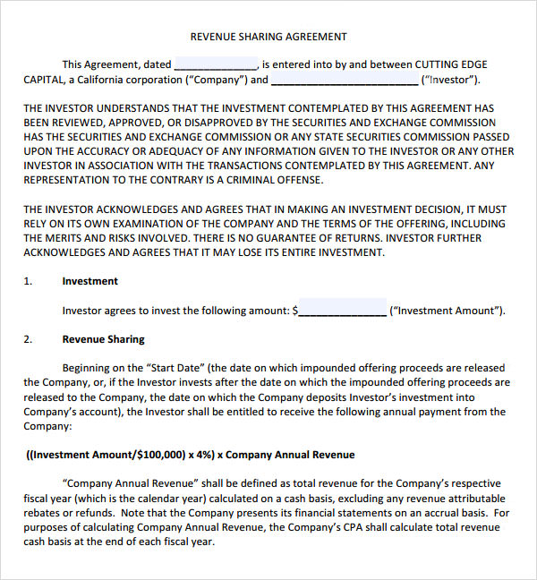 revenue profit sharing agreement template