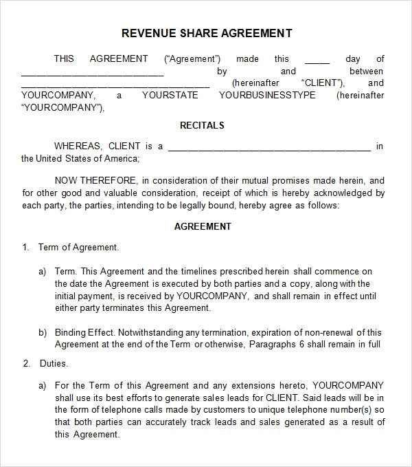 Profit sharing agreement 7 free pdf doc download for Profit sharing contract template