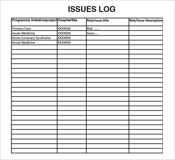 Issue Log Sample   Documents In Pdf Word