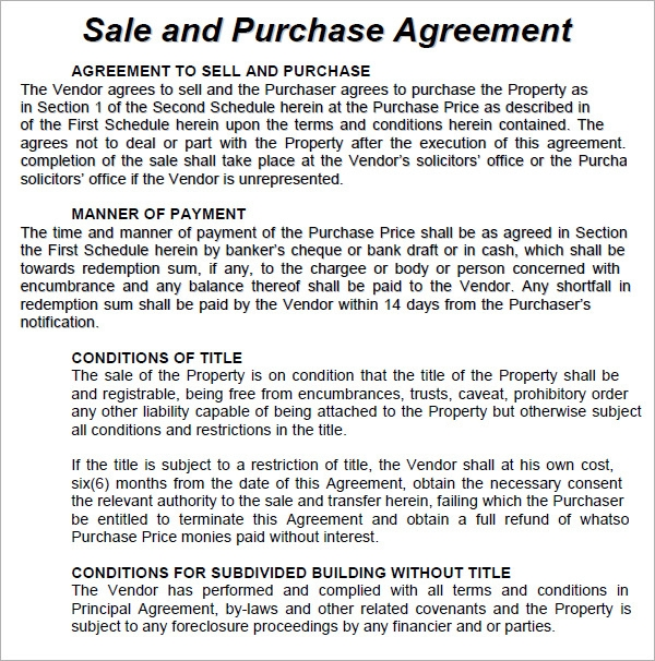 purchase and sales agreement template .