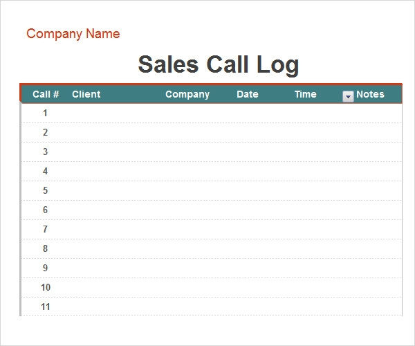 Call Log Template - 11+ Download Free Documents in PDF , Word