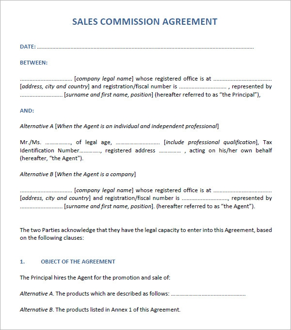 Simple sales agreement template 28 images sales for Sales commision structure template